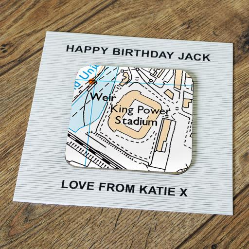 Personalised Card with Coaster Leicester City-King Power Stadium Map