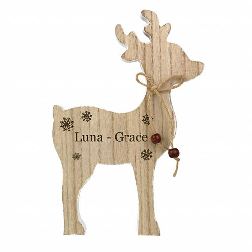 Personalised Rustic Wooden Reindeer Ornament Any Name