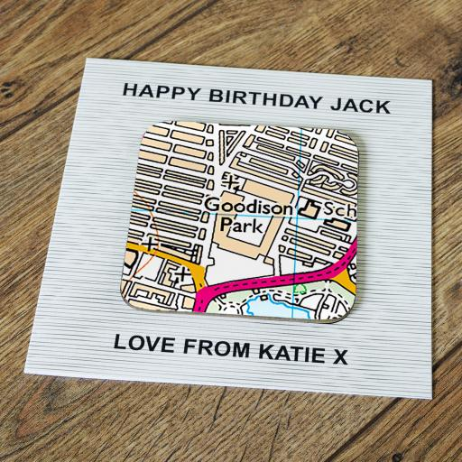 Personalised Card with Coaster Everton-Goodison Park Stadium Map
