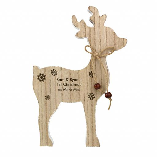 Personalised Rustic Wooden Reindeer Ornament