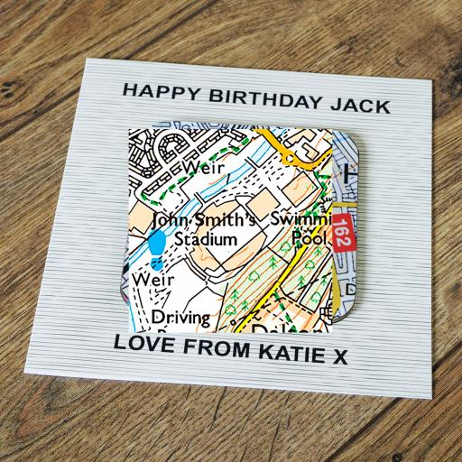 Personalised Card with Coaster Huddersfield Town-John Smith's Stadium Map