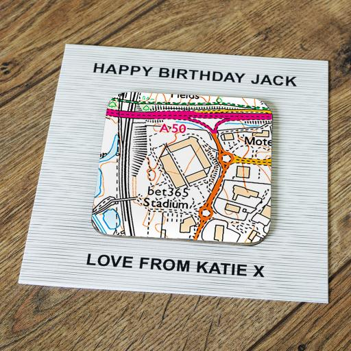 Personalised Card with Coaster Stoke City-bet365 Stadium Map