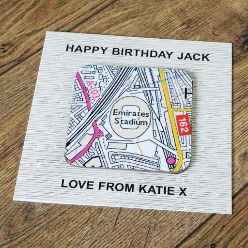 Personalised Card with Coaster Arsenal-Emirates Stadium Map