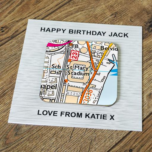 Personalised Card with Coaster Southampton-St Mary's Stadium Map