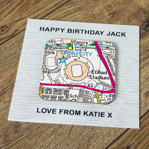 Personalised Card with Coaster Manchester City-Etihad Stadium Map