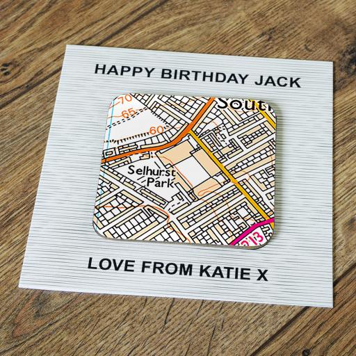 Personalised Card with Coaster Crystal Palace-Selhurst Park Stadium Map