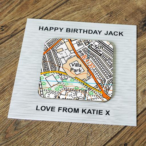 Personalised Card with Coaster Aston Villa-Villa Park Stadium Map