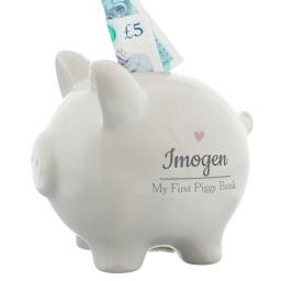 Personalised Pink Heart Motif Piggy Bank