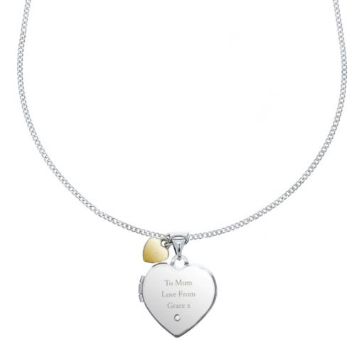 Personalised Any Message Sterling Silver Heart Locket Necklace with Diamond and 9ct Gold Charm