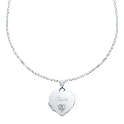 Personalised Children's Any Name Sterling Silver & Cubic Zirconia Heart Locket Necklace