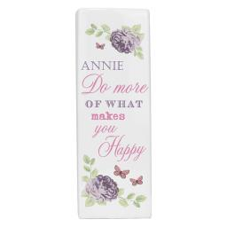 Personalised 'Do more of what makes you happy' Secret Garden Square Ceramic Vase