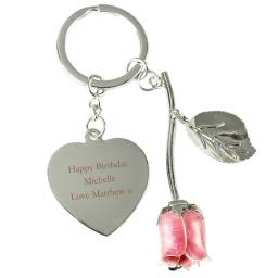 Personalised Silver Plated Message Pink Rose Keyring