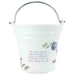 Personalised Any Message Secret Garden Porcelain Bucket