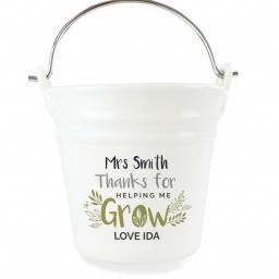 Personalised Thanks for Helping Me Grow Porcelain Bucket