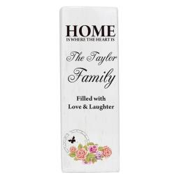 Personalised Home is where the heart is Shabby Chic Square Ceramic Vase