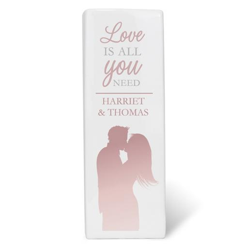 Personalised Love is All You Need Square Ceramic Vase