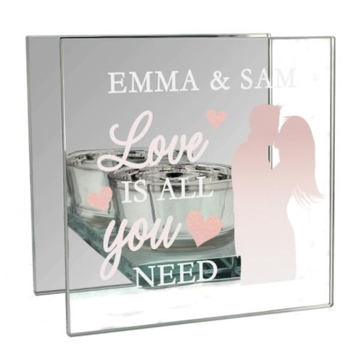 Personalised Love is All You Need Mirrored Glass Tea Light Holder