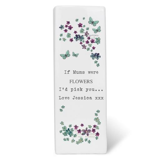 Personalised Forget Me Not Square Ceramic Vase