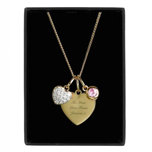 Personalised Any Message Sterling Silver & 9ct Gold Heart Necklace