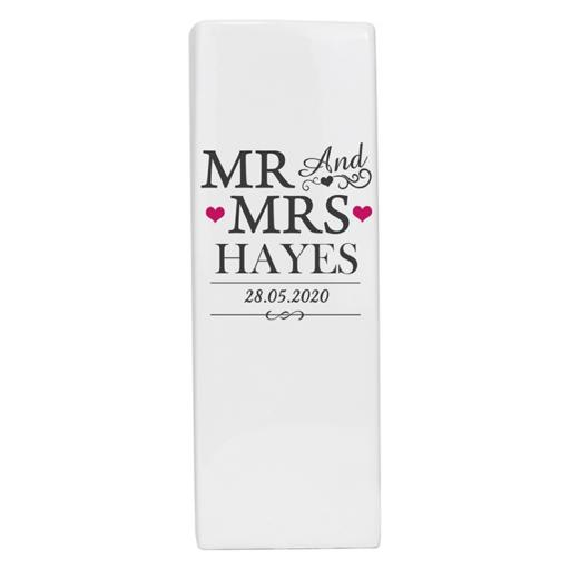 Personalised Mr & Mrs Square Ceramic Vase