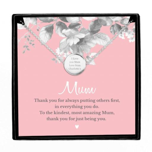 Personalised Silver Tone Necklace With Mum Sentiment Card in Gift Box