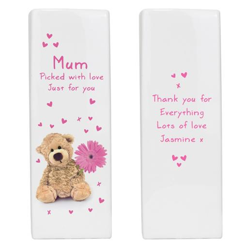 Personalised Teddy Flower Square Ceramic Vase
