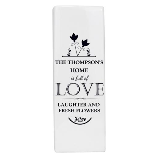 Personalised Full of Love Square Ceramic Vase
