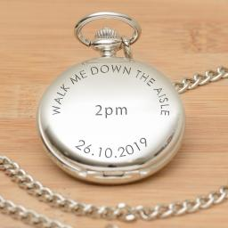 "Personalised Quartz Pocket Watch - WALK ME DOWN THE AISLE 14"" Chain"
