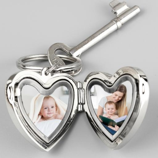 Personalised Heart Shaped Heart Motif Photo Keyring