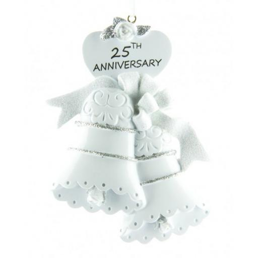 Personalised 25th Wedding Anniversary Bells Silver Hanging Decoration