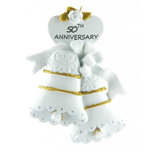 Personalised 50th Wedding Anniversary Bells Golden Hanging Decoration
