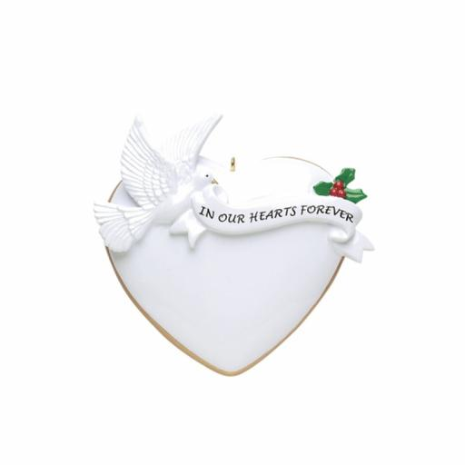 Personalised In Our Hearts Forever Dove Hanging Decoration/Ornament