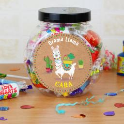 Personalised Llama Round Sweet Jar