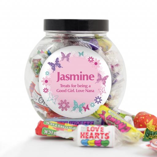 Personalised Pink Butterfly Sweet Jar