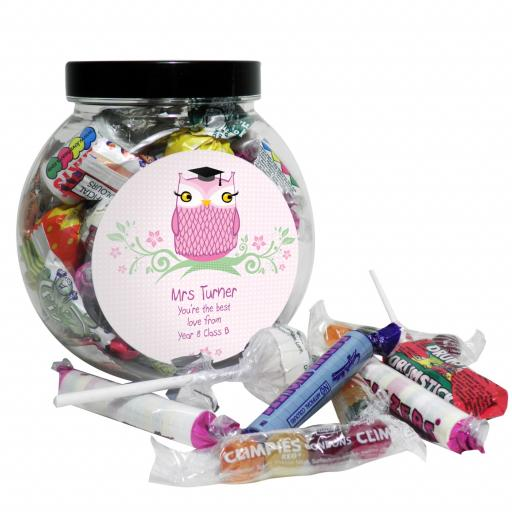 Personalised Miss Teacher Owl Sweet Jar