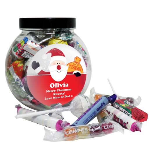 Personalised Christmas Santa Round Sweet Jar