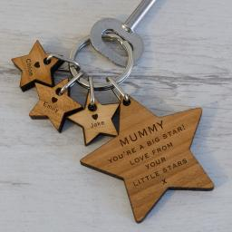 Personalised Wooden Keyring - Stars