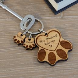 Personalised Wooden Keyring - Paws