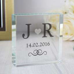 Personalised Silver Heart Monogram Glass Block
