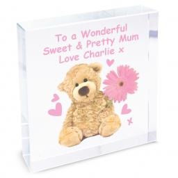 Personalised Teddy Flower Glass Block