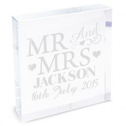 Personalised Mr & Mrs Glass Block
