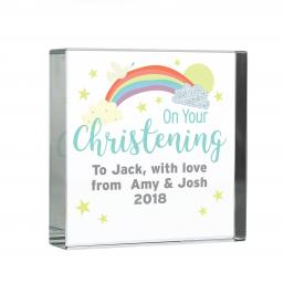 Personalised Rainbow Christening Glass Block