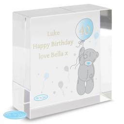 Personalised Me To You Age Balloon Glass Block