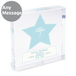 Personalised Stitch & Dot Blue Star Glass Block