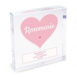 Personalised Stitch & Dot Pink Heart Glass Block