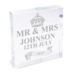 Personalised Royal Crown Glass Block