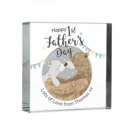 Personalised 1st Father's Day Daddy Bear Glass Block