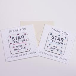 Personalised Card with Coaster - Star Teacher