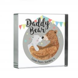 Personalised Daddy Bear Glass Block