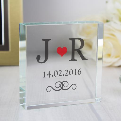 Personalised Red Heart Monogram Glass Block